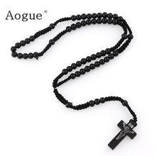 30c0bffb6107 8mm católica de madera negro cuentas de Rosario Cruz ortodoxa de madera  cuerda tejida collar de joyería religiosa de las mujeres.