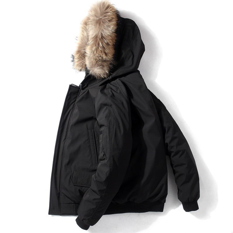 QUANBO New Short Men Down Jacket Winter Thick Warm Youth Loose Casual Coat 90% White Duck Down Fashion Hooded Parkas Black