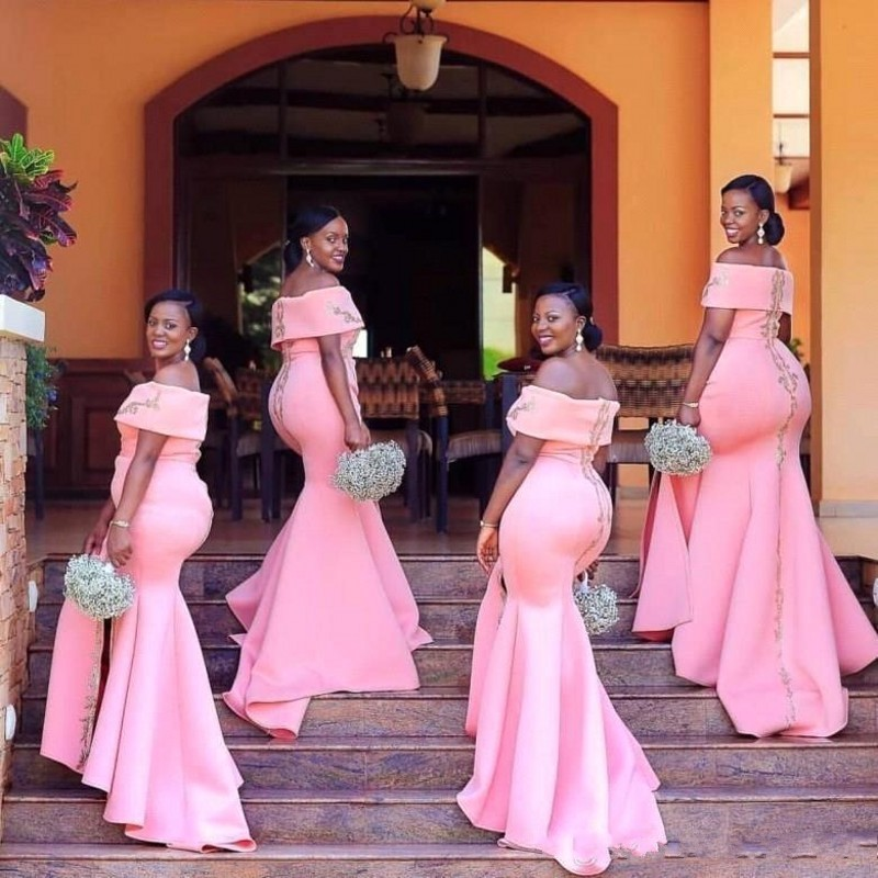 Blush Pink African Long   Bridesmaid     Dresses   Bateau Neck Mermaid Applique Wedding Guest Maid Of Honor   Dress   vestido longo