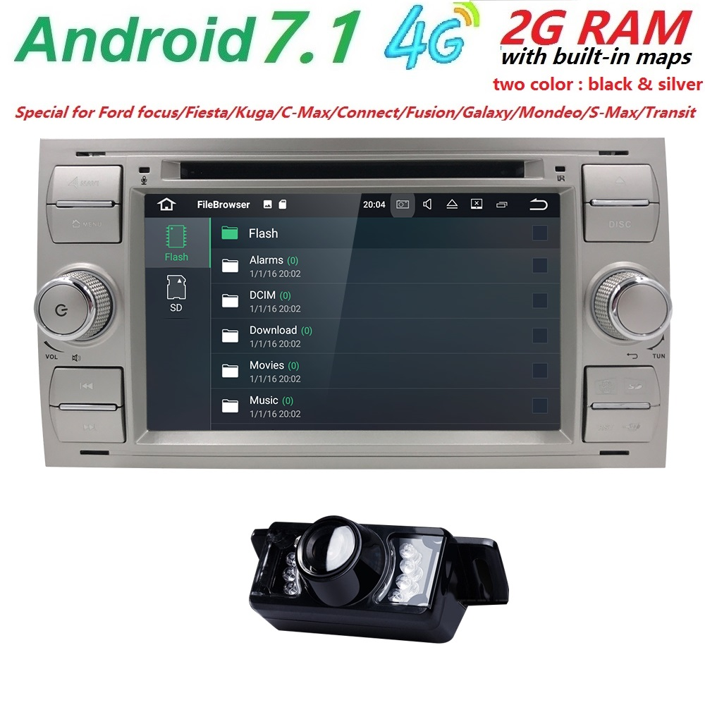 Android 7.1 Black Sliver Car DVD Player AutoRadio Audio For Ford Focus 2 3 Mondeo S CMax Fiesta Galaxy Fusion 2006-2011 GPS Navi