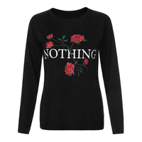 Nothing Rose Letter Printed T Shirt Women Harajuku Long Sleeve Loose Ladies Tops 2017 Autumn Black