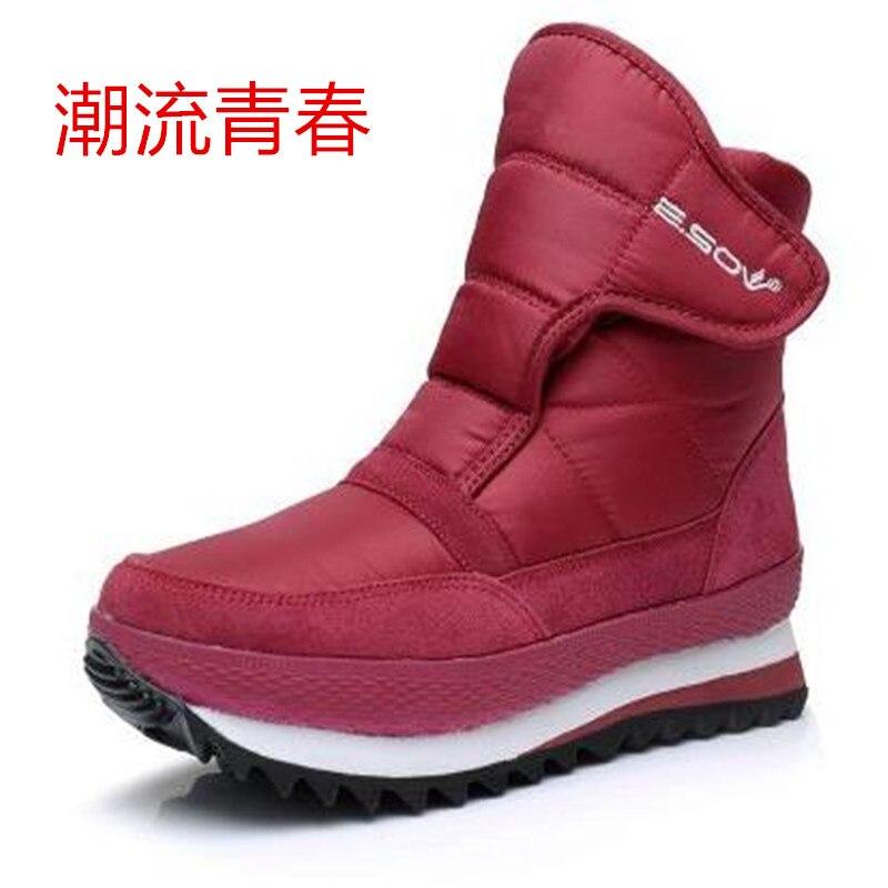 Nieve Mujer Negro Impermeable Plataforma Caliente Boot Zapatillas Las gris  Botas De Piel Femenino azul rojo ... 9ed3c3762ef07