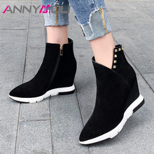 ANNYMOLI Real Leather Ankle Boots Women Cow Suede Rivets Wedge Heel Short Zipper Extreme High Shoes Lady Autumn 34-39