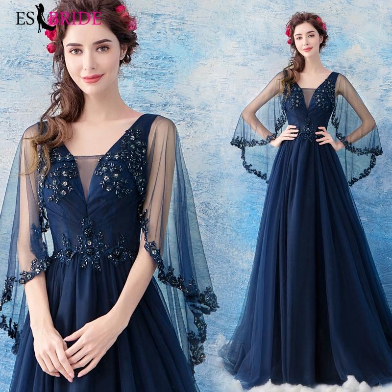 Royal Blue Wedding Gown: Royal Blue Evening Dresses Long 2019 Plus Size V Neck