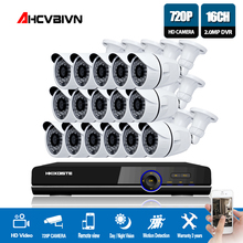 1080P AHD DVR NVR CCTV 16CH HDMI 16pcs AHD 720P 2000TVL IR Weatherproof CCTV Camera Security System Surveillance Kit 4TB Hard