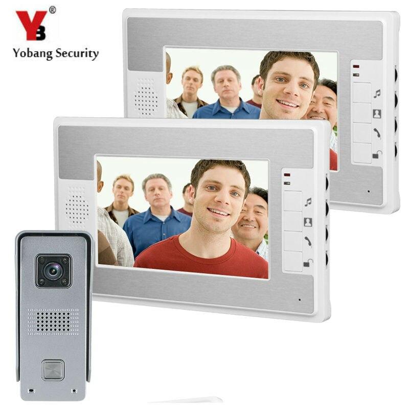 YobangSecurity 7Inch Video Door Phone Video Door Entry System Intercom Doorbell Home Security Kit 1 Camera 2 Monitor