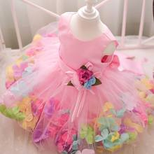 Розничная девушка платья лепесток марли производительность платье детской одежды мода сарафан девушка ну вечеринку платье 3-9Y L108