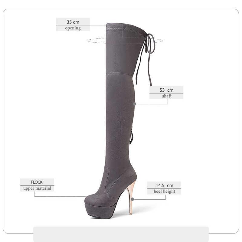 WETKISS Artı Boyutu Diz Boot Over 2020 Son Kadın Akın Streç Uzun Çizme Fermuar Stiletto Platformu Bayan Yüksek Topuklu ayakkabı