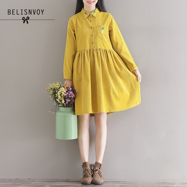 2018 New Spring Autumn Women Clothing Preppy Vintage Solid Long Sleeve  Pineapple Embroidery Plus Size Corduroy Dress Mori Girl 8f8b01f1f6be