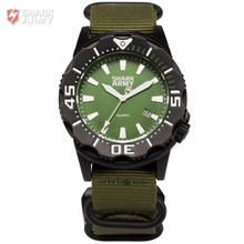 SHARK ARMY 100m Waterproof Surfing Auto Date Full Steel Green Nylon Band Strap Outdoor Sports Military Mens Brand Watch /SAW192