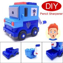 Cartoon Police Car DIY Building Blocks Manual Pencil Sharpener Stationery School Gifts toys for kids students new A30(China)