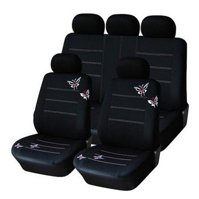 2016 Bordado Mariposa Auto Cubierta de Asiento de Coche Universal Fit Car Accesorios Interiores Del Coche Cubre Asiento Negro Cubre La Mayoría de Los Coches