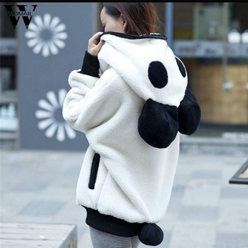 Womail Fashion Cute Bear Ear Panda Winter Warm Hoodie Coat Women Hooded Jacket Outerwear jan13/30 oct30