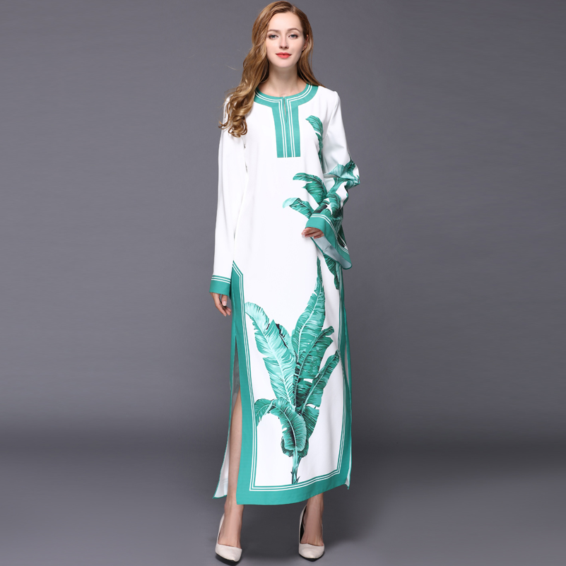 0012a49aed8 HIGH QUALITY New 2018 Designer Runway Maxi Dress Womens Batwing Sleeve  Banana Leaves Printed Long Dress