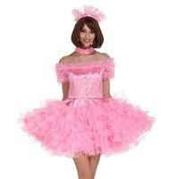 Сисси девушка с плеча Паффи Розовое платье переодевание Косплэй костюм