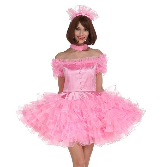 a7ffded2ec Sissy Girl Off Shoulder Puffy Pink Dress Crossdressing Cosplay Costume