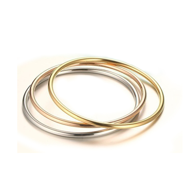 Women Simple Design Round Bangle Three Colors Quality Stainless Steel Gold Rose