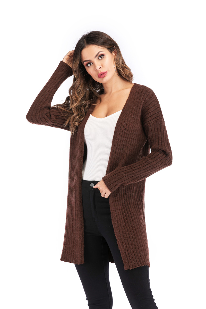 Fall Winter Cute Knitted Middle Long Ribbed Cardigan Dress for Women Kawaii Ladies Knit Drop Shoulder Sweater Coat Oversized S-L 24