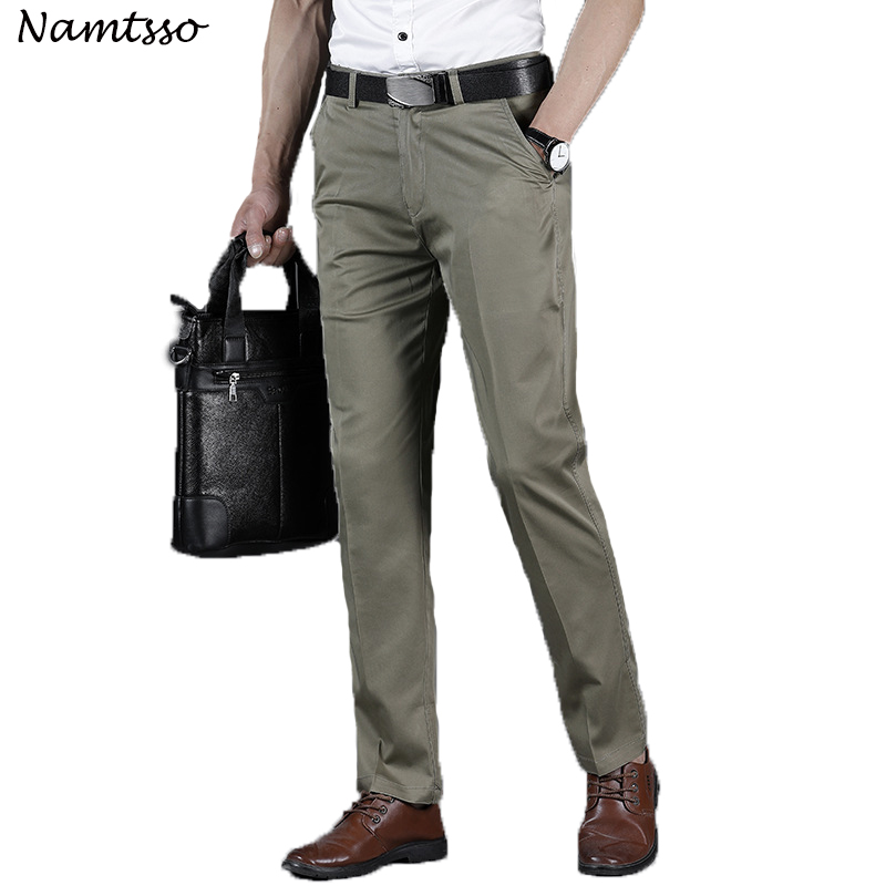 Mens Classic-Fit Wrinkle-Resistant Flat-Front Chino Pant Business Casual Middle-aged str ...