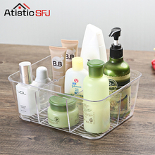 ФОТО Acrylic Compartment Desk Organizer Transparent Bathroom Cosmetic Storage Box Clear Makeup Brush Holder Office Basket Container