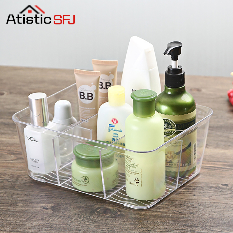 Acrylic Compartment Desk Organizer Transparent Bathroom Cosmetic Storage Box Clear Makeup Brush Holder Office Basket Container