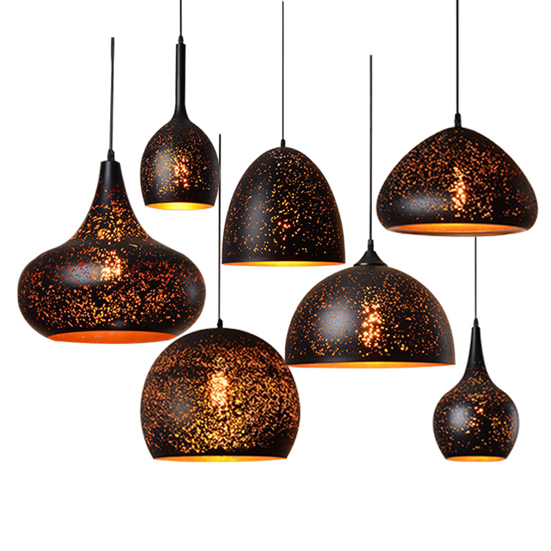 Modern Raser Cut Metal Pendant Light Black Inside Gold ...