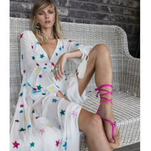 UK 2019 Summer Women Star Embroidery Loose Bohemian V neck dress Hippie Boho People Holiday long dre