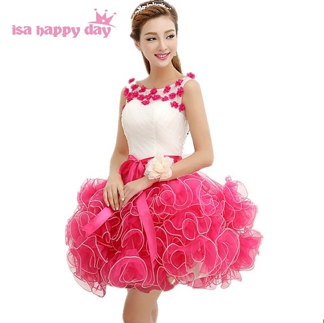 Las muchachas princesa puffy fucsia tulle vintage prom modest ...