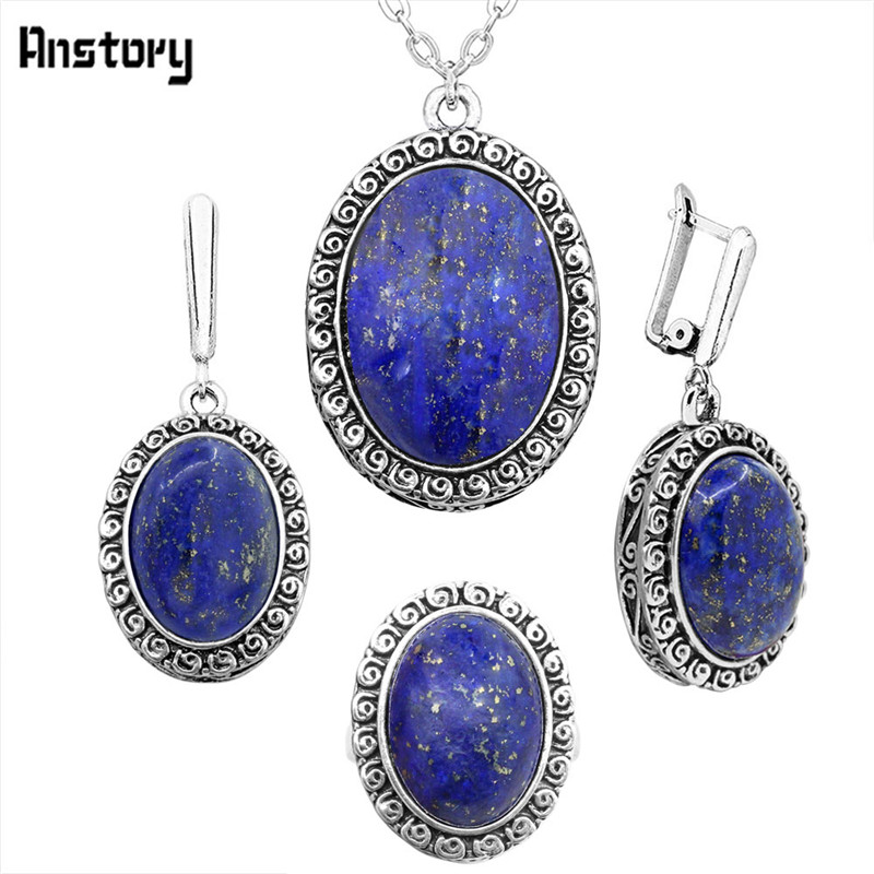 Oval Lapis Lazuli Jewelry Sets Vintage Necklace Earrings Rings Jewelry Sets For Women Snail Pendant Party Gift fashion natural stone 13x18mm lovely oval lapis lazuli stones beads chain necklace for women party wedding jewelry 18inch my5179