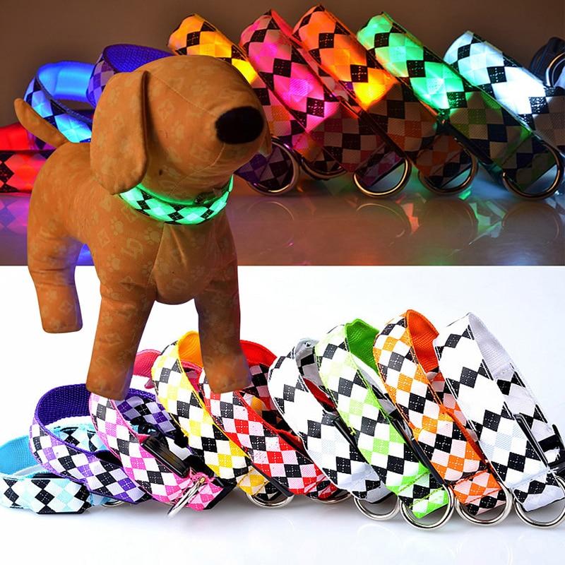New Pet Dog Night led Shine collar Colorful Nylon Collar Night Safety Luminous Collar Outdoor Walking travel Collar DA