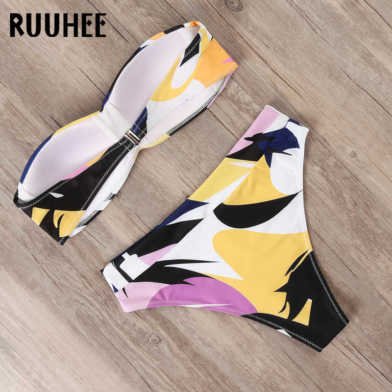 RUUHEE maillot de bain Push Up Bikini 2020 femmes maillots de bain bandeau taille haute Bikini ensemble sangle détachable maillot de bain femme maillots de bain