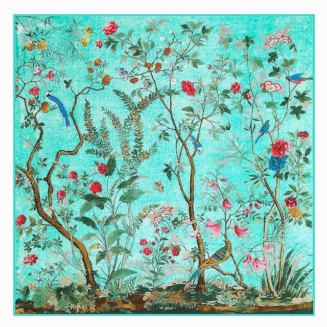 2017 New Arrival Luxury Brand autumn winter 100% Twill silk square scarves flowers scarf bird Wraps swimwear Hijab