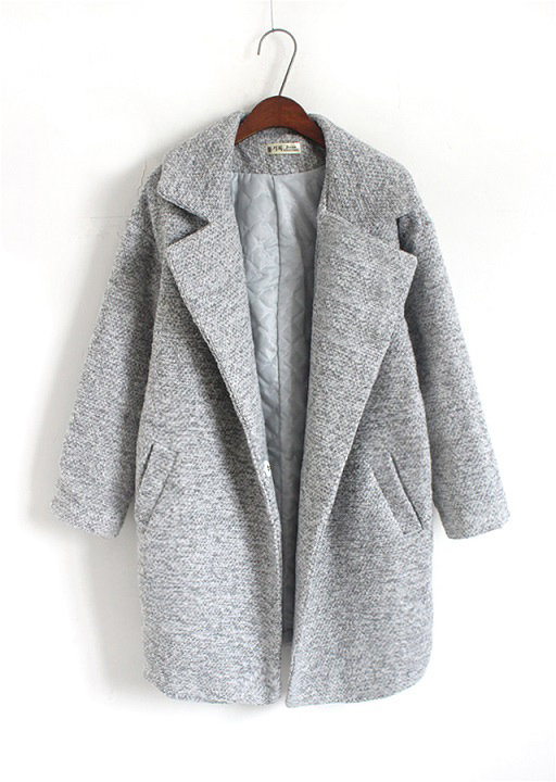 New Autumn Winter Women Long Big Size Grey Coat Woman Top Design Casual Clothes Warm Outfit Clothing Plus Size Gray Overcoat