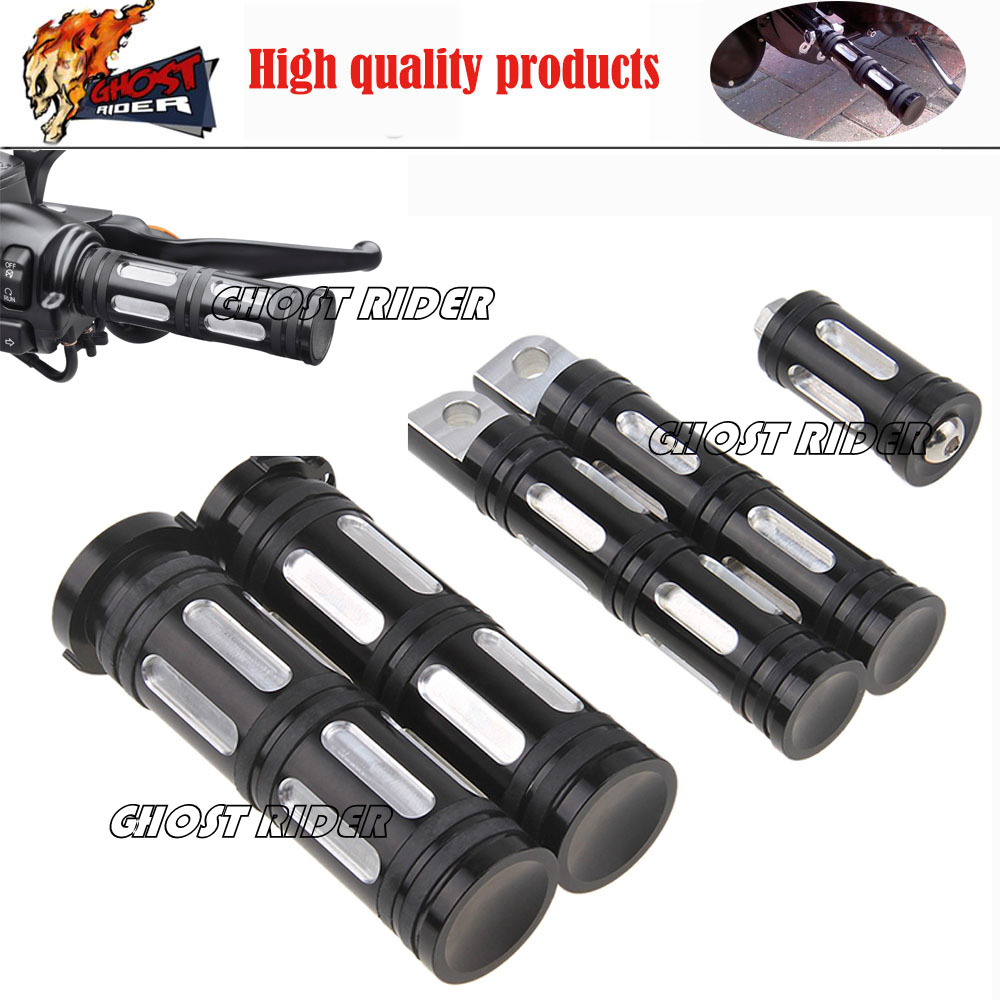 Hot CNC Motorcycle Edge Cut Foot Pegs+1''Handlebar Grips Protaper+Shifter Peg fits for Harley Davidson Iron 883 XL883N Touring B brand new silver color motortcycle accessories abs plastic led tail light fit for harley harley iron 883 xl883n xl1200n chopped