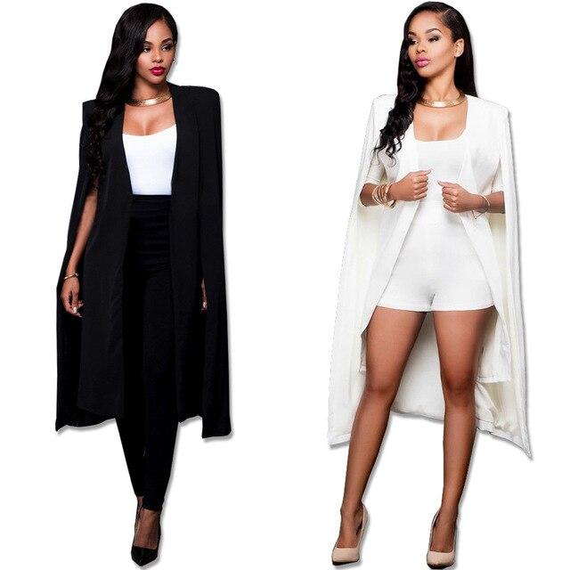 Fashion Black Bandage Bodycon Trench Coats Open Stitch Cocktail Shawl Dresses S--XL QZ108