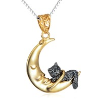 GNX11973 100 Real Pure 925 Sterling Silver Necklaces Beauty Classic Gold Color Moon Cute Cat Women