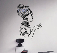 African Woman Wall Decal Folk Girl Hairstyle Vinyl Sticker Home Decor Ideas Room Interior Bedroom Wall