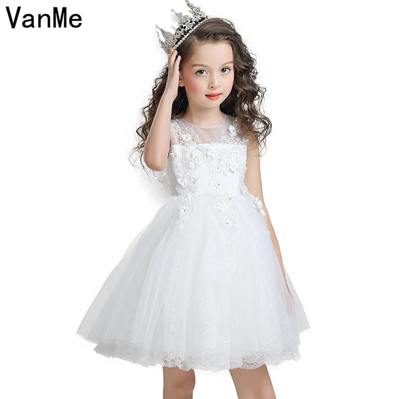 Mannp Brand Summer Newest White Princess Dress for Little Girl Lolita Style Sleeveless O-neck Ball Gown Dress for Kids # V-106 ball style pvc anti collision angle guard for kids translucent white