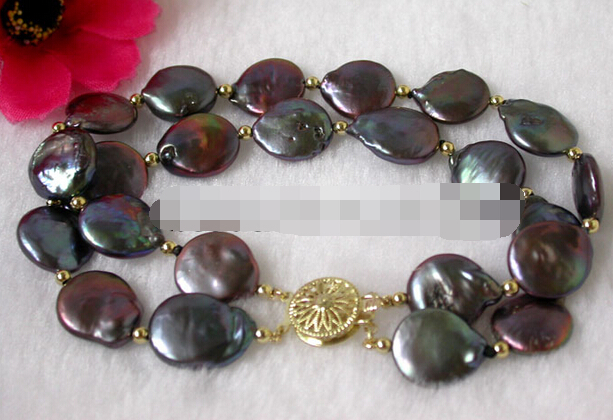 08684 черная монета жемчужный браслет (A0429)