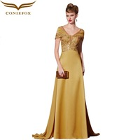 2016 elegante Designer Spitze Formale Abendkleider Kleider V-ausschnitt Flügelärmeln Sweep Zug Lange Prom Kleid robes de soiree 30923
