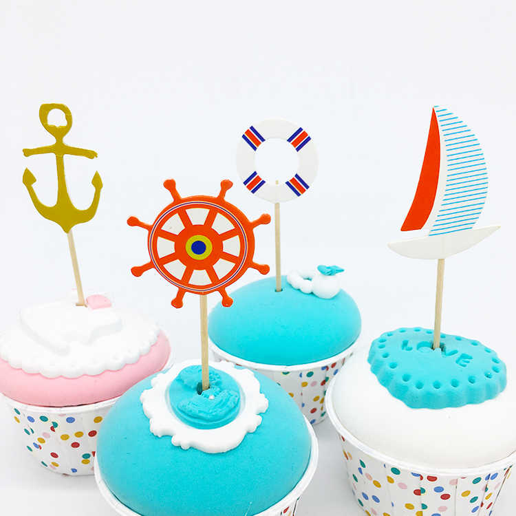 set of 12 Pirate Sails Birthday Party Cupcake Toppers