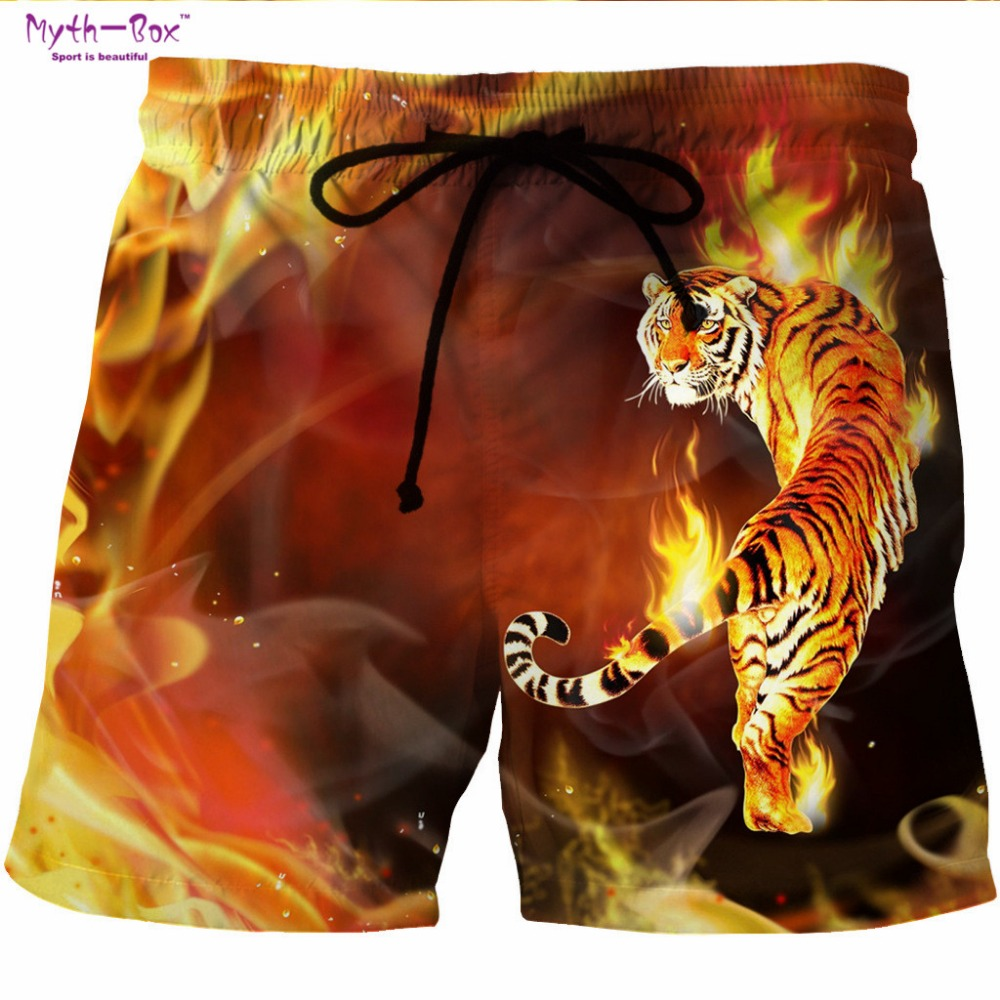 Summer Man's Beach   Shorts   Swim Sports S-6XL Pants Fire Tiger/Lion 3D Print Surfing   Shorts   Plus Size Male Gym Surf   Board   Swimsuit
