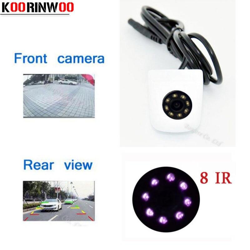 Koorinwoo White Front Camera Car Parking Assistance Reversing Back Rear View Camera HD Car Parking Camera 8 IR Infrared Lights