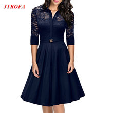 Summer Vintage Dress Big Size 50s Rockabilly For Woman  2017 Lace Party Dresses Black Slim Elegant Ladies Evening Party Vestidos