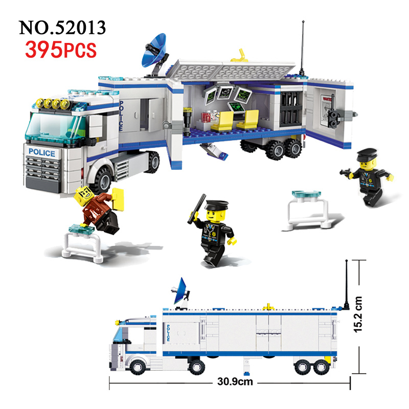 Models building toy 52013 City Super Police Mobile Emergency Command Center Truck 395pcs Building Blocks new in box toy story spaceship command center playset nice gift