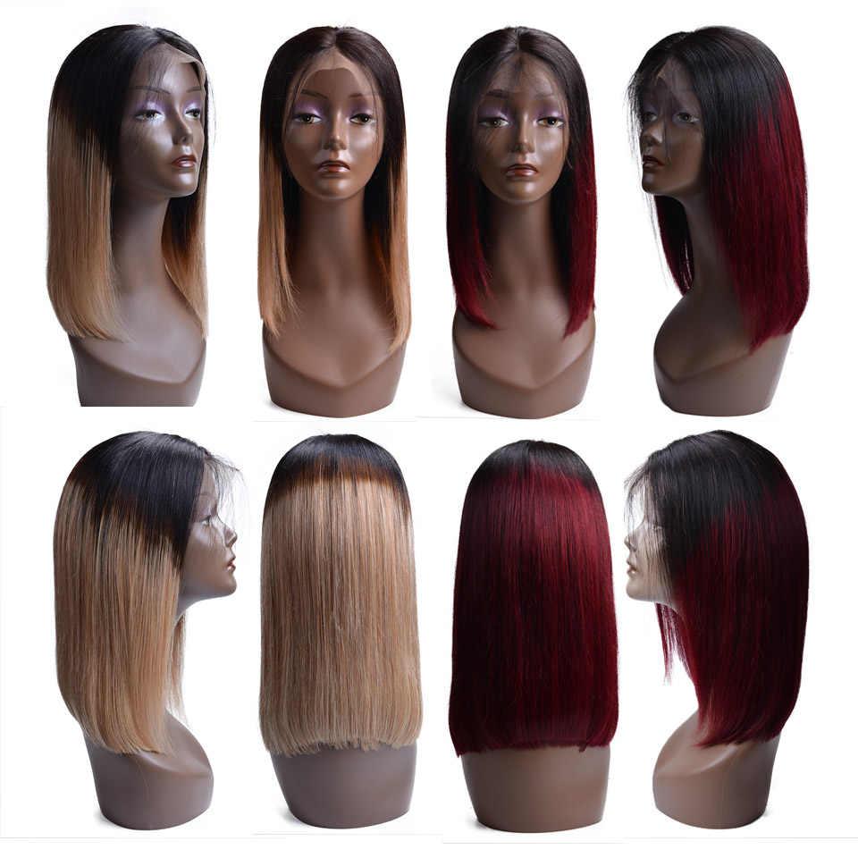 Corta y recta Bob pelucas de cabello humano Color Natural pelo Remy indio 130 densidad Bob pelucas para mujeres negras