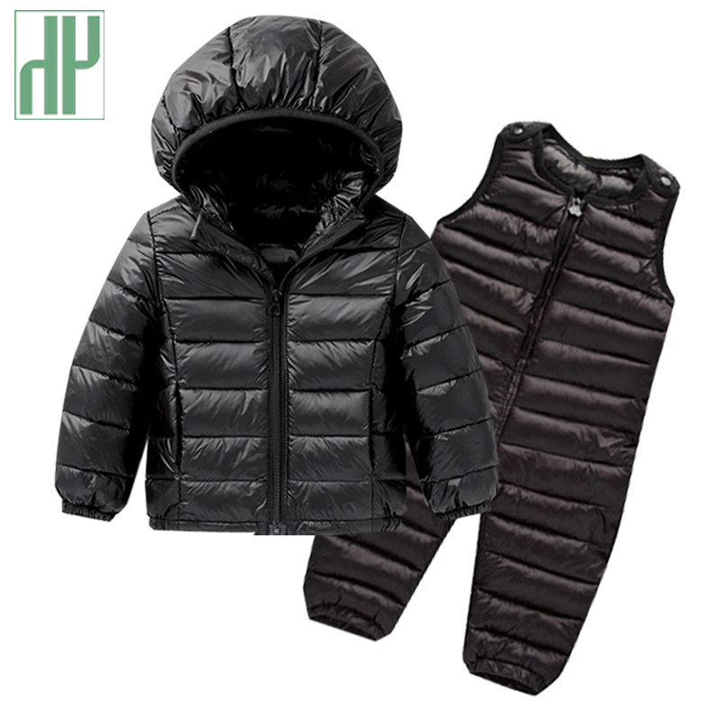 Kids winter clothes Sets Down Jacket 2 pcs Hooded Coat+overalls Baby Boys Girls Warm Parkas Children Outerwear toddler outfits