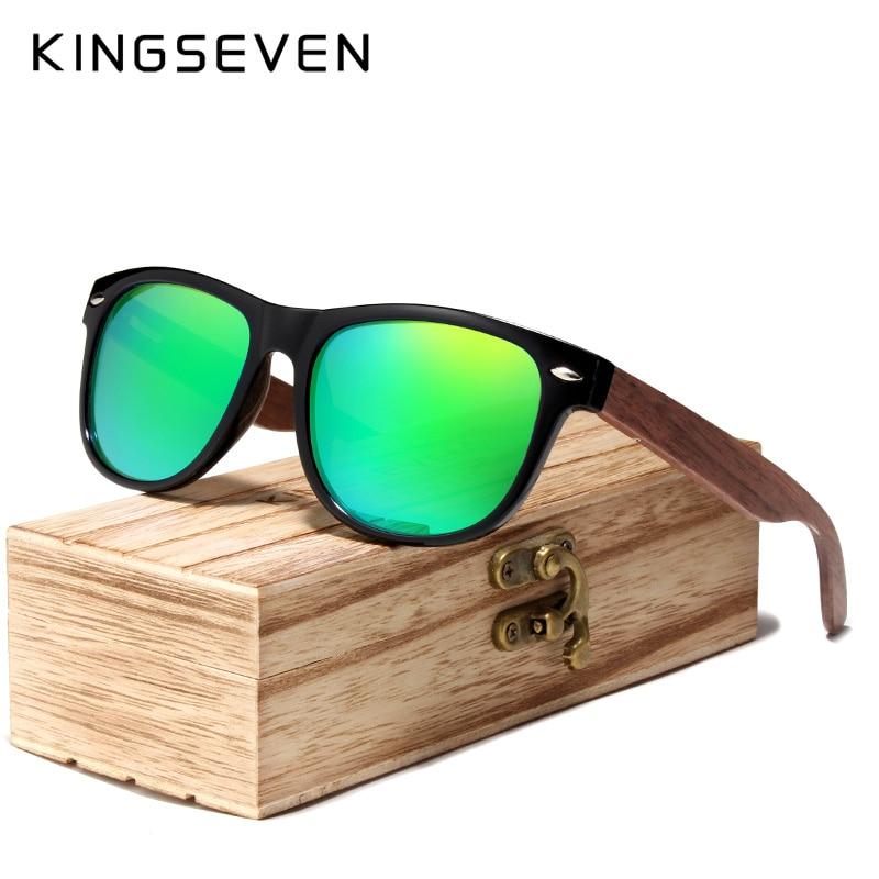 KINGSEVEN 2019 Noce Nero Occhiali Da Sole di Legno Occhiali Da Sole Polarizzati Degli Uomini di Protezione UV Occhiali Con La Scatola di Legno Oculos de sol