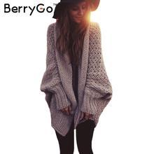 BerryGo форме крыла летучей мыши рукав вязаный кардиган свитера женщины Моды негабаритных плечами свитер Осень зима теплая длинный свитер перемычки