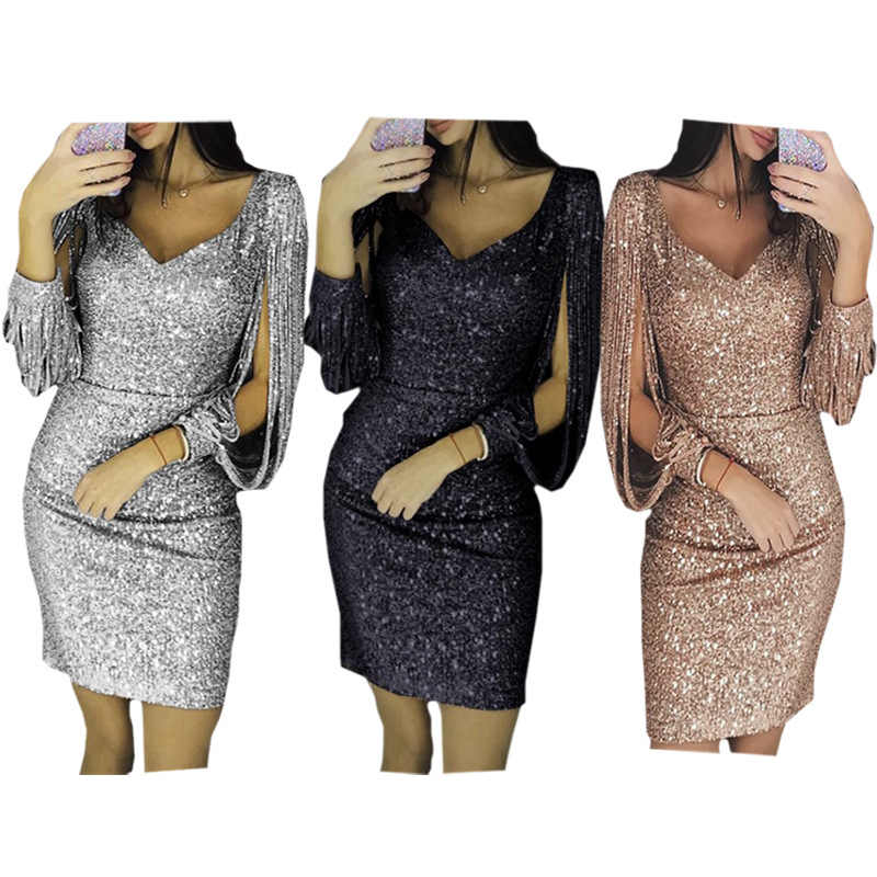 b55d2f85fd Try Everything Sexy Sequin Dress Party Evening New Year 2019 Short Bodycon  Glitter Dresses For Women Green Gold Club Mini Dress